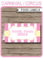 Carnival Party Food Labels template – pink/yellow