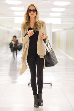 black + nude. waterfall cardigan. Plane outfit!