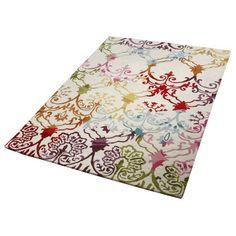 Teppich, Wohntraum Collection. Ein echter Hingucker ist dieser Teppich, der jeden Tag für gute Laune sorgt. Handgetuftet in Indien. Hochwertige Qualität, im Flor aus reiner Schurwolle. Grundfarbton creme, Ornamente multicolor.