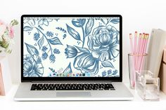 August's Blue Floral Free Desktop Wallpaper Download - beautiful hand-illustrated blue floral design