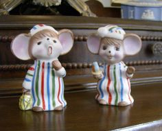 Pair of Vintage Christmas Mice in their PJs  all by Farmhouseattic, 10.00