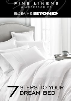 """""""7 Steps to Create Your Dream Bed: 1. Ultra Comfortable Mattress – for long-lasting support 2. Extra Lightweight Pillows – for exceptional comfort 3. Beautifully Detailed Euro Shams – European pillow to complete your bed 4. Airy & Breathable Sheet Set – handcrafted with crisp fabric 5. White Goose Down Comforter – warmth without weight 6. Soft & Lightweight Duvet Cover – for year-round comfort 7. Super Soft Blanket – an essential layer"""""""