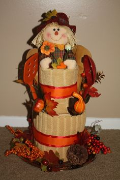 Fall towel cake - Housewarming gift made from rolled  kitchen towels and cooking utensils
