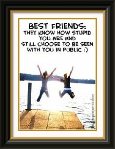 Best Friends: they know how stupid you are and still choose to be seen with you in public:) I Love My Friends, True Friends, My Love, Crazy Friends, Friendship Love, Friendship Quotes, Best Friend Quotes, My Best Friend, Best Friends Forever