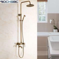 BOCHSBC Rainfall Shower Set Brass Bathroom Shower Head Round Antique Bath Shower Set with Third Gears Rain Shower Head #Affiliate