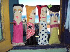 Munecas de trapo pintadas por Denise Quijada