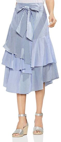 be777167df Vince Camuto Tiered Striped Midi Skirt Vince Camuto, Ruffle Skirt, Midi  Skirt, Ruffles