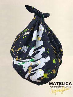 デニム風呂敷 70cm ko・to・da・ma 「喜」 #和モダン #書 #言霊 #デザイン #Japonythm #MATELICA  #calligraphy #風呂敷 #アート #Japan #Tokyo #furoshiki #Japonism