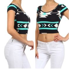 • Mint Aztec Crops • Stretchy and soft spandex material Mint Aztec crop tops . One size fits all. Please do not purchase this listing. Comment and I'll make a new one for you. Tops Crop Tops
