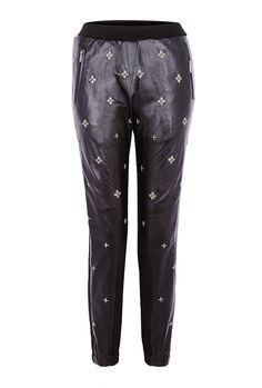 PRODUCT CODE: 495770 Leather Beaded Track Pants By Annha #AW14 #MYWtrends #Embellishment