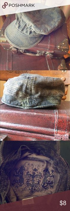 Plaid Newsboy Cap Hat 100% Cotton, only worn a couple of times. Cute design inside- shades of brown and gray, looks dark brown or charcoal from a distance vlnt Accessories Hats