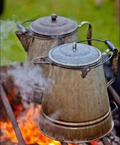 Country coffee - throw in a couple handfuls of coffee grounds in fresh, cold water and bring to a boil. Let it steep five minutes over a slow simmer. To test if it's ready, throw in a clean stone. If it sinks, add another handful of coffee grounds.