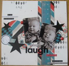 #papercraft #scrapbook #layout. Smile Laugh Giggle