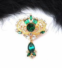 Unique Czech Rhinestone Pin, Emerald / Crystal