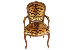 Walnut Armchair w/ Scalamandré Le  Tigre