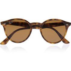 Ray-Ban Round-frame acetate sunglasses (£115) ❤ liked on Polyvore featuring accessories, eyewear, sunglasses, glasses, óculos, очки, tortoiseshell, acetate sunglasses, round tortoiseshell sunglasses and tortoise glasses