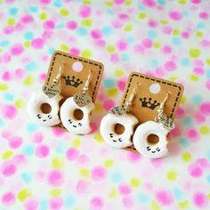 """Une paire de boucles d'oreilles en fimo """" Donuts kawaii """" : Boucles d'oreille par mysweetcandies"""