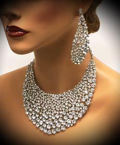 A personal favorite from my Etsy shop https://www.etsy.com/listing/256656078/bridal-jewelry-set-wedding-jewelry-bib