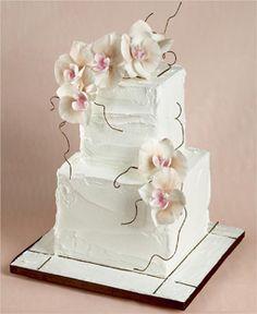 Elegant 2 tier cake sugar orchids