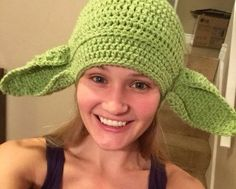 Star Wars Yoda Adult Beanie with Awesome Ears by MountainHomeYarns