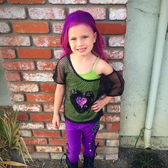 Diy mal costume descendants disney mal leather jacket spray paint maizie joe in her finished mal costume boots pants shirt all purchased on kid halloween costumeshalloween diyholidays solutioingenieria Gallery