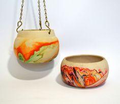 Hanging Out... Vintage 70's 2 Nemadji Indian Pottery Planter Vase Set Hanging & Table. $65.00, via Etsy.