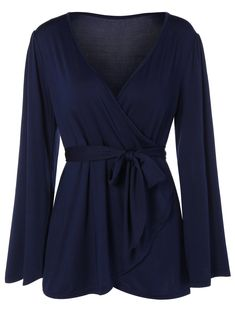 Bell Sleeve Plunging Wrap Tunic T-Shirt in Midnight | Sammydress.com