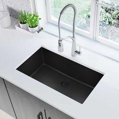 "Elkay Quartz Classic 33"" x 18"" Undermount Kitchen Sink Finish: Black"
