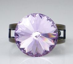 Rhinestone Ring Lavender Rivoli Oxidized Brass by milminedesign, $25.00