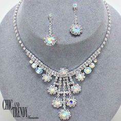 ELEGANT AURORA BOREALIS CRYSTAL PROM WEDDING FORMAL NECKLACE JEWELRY SET CHIC  #Unbranded