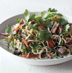 This sophisticated version of chow mein has been reinvented as a spicy noodle salad. The flavors are best when the dish is served at room temperature, making it an ideal candidate for a picnic.