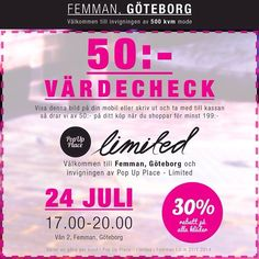 Idag vid 17.00 inviger vi den 500 kvm stora butiken i #femman i #Göteborg och du är välkommen till ett kalas med 30% rabatt på alla kläder o...