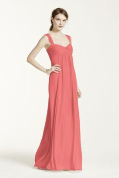 A long soft silhouette translates to a truly elegant look that your bridesmaids will absolutely love! Sleeveless bodice with cap sleeves features sweetheart neckline with ruched twist front deta Cute Bridesmaid Dresses, Bridal Party Dresses, Wedding Gowns, Bridesmaids, Bohemian Bridesmaid, Davids Bridal, Chiffon Dress, Cap Sleeves, Bodice