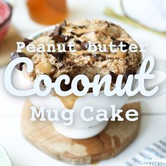 In five minutes or less, you can dive into this warm and rich coconut mug cake. Coconut Peanut Butter, Coconut Flour, Peanutbutter Cake Recipe, Mayonaise Cake, Cake Recipes, Dessert Recipes, Gf Recipes, Delicious Recipes, Recipies