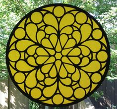 Stained glass window art square wood with a velum backing do it stained glass window art yellow circle wood with a velum backing solutioingenieria Gallery