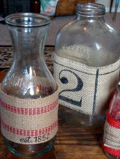 Easy craft idea. [I live for mason jars and burlap -- this is an alternative take on the idea -- I do not have either of types of burlap here, nor the bottles, but I have definitely invested a heavy amount of time playing with various bottles/mason jars in different sizes with all kinds of burlap and twine, ribbon, lace, etc.]