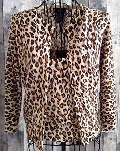 bebe 100% Cashmere Twin Set Animal Print Cardigan Sweater Camisole Top Medium #bebe #TwinSet