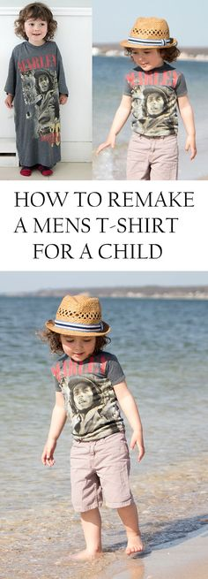 How to Remake a Mens T-shirt for a Child. #DIY #Sewing