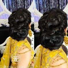 """Gorgeous detailed low bridal bun created using 20"""" @bombayhair extensions in #expresso along with their 25mm Bombay Gold Curling Wand to create these perfectly defined curls. We also used @ravbagrymakeupstudio Jumbo Donut which created the perfect foundation for this detailed hairstyle.  _______________________________________________________  Makeup/Hair/Styling/Photography: Sapphire Studio Ltd.  Snapchat: sapphiredoll8 & mon_b8 For inquiries please email us at…"""