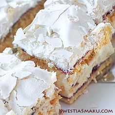Pani Walewska: a ripped combination brittle and very thin dough, sweet and crunchy meringue, creamy pudding and sour mass of black currant jam (recipe is in Polish - just 'translate')