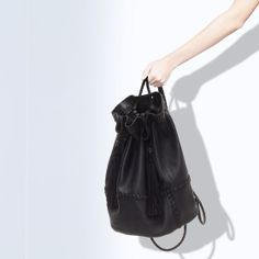 ZARA - WOMAN - LEATHER BUCKET BAG WITH TASSELS