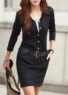 Fashionable Black Autumn Long Sleeve Dress with Belt