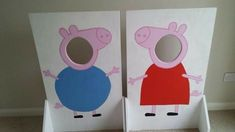 Peppa Pig & George boards my husband made for my daughters birthday. Peppa Pig & George boards my husband made for my daughters birthday. Cumple George Pig, Peppa E George, George Pig Party, Third Birthday, 4th Birthday Parties, Birthday Fun, Fiestas Peppa Pig, Cumple Peppa Pig, Party Decoration