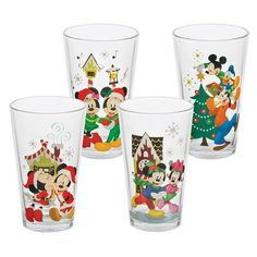 Vandor LLC Disney Mickey and Minnie Holiday 4 Piece 16 oz. Mickey Y Minnie, Mickey Mouse And Friends, Disney Mickey, Minnie Mouse, Disney Magic, Disney Art, Disney Cups, Character Home, A Christmas Story