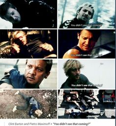 Age of Ultron is why we can't have nice things. Clint Barton/Hawkeye and Quicksilver, Age of Ultron