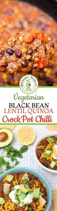 Crock Pot Black Bean Lentil Quinoa Chili is the most satisfying cold weather cozy option! This vegetarian, healthy delicious chili can easily be made vegan.
