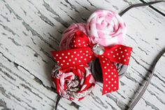 Lovely Little Love- red, pinks and grey rosette headband