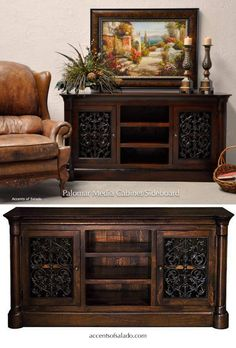 Tuscan Media Cabinets Furniture for Tuscan Style Bedrooms and Living Areas Tuscan Style Homes, Tuscan House, Living Room Colors, Living Room Decor, Dining Room, Dining Table, Living Room Tv Cabinet Designs, Tuscan Paint Colors, Tuscan Living Rooms