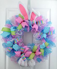 Easter Bunny Summer Spring Welcome Door Wreath; Pink Blue Green White