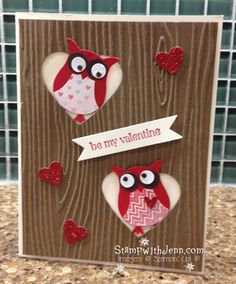Cute Valentines Card made with Owl punch and Hearts a Flutter Framlelits